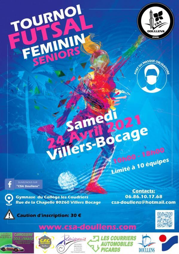 Affiche tournoi futsal feminin csa 24 04 21