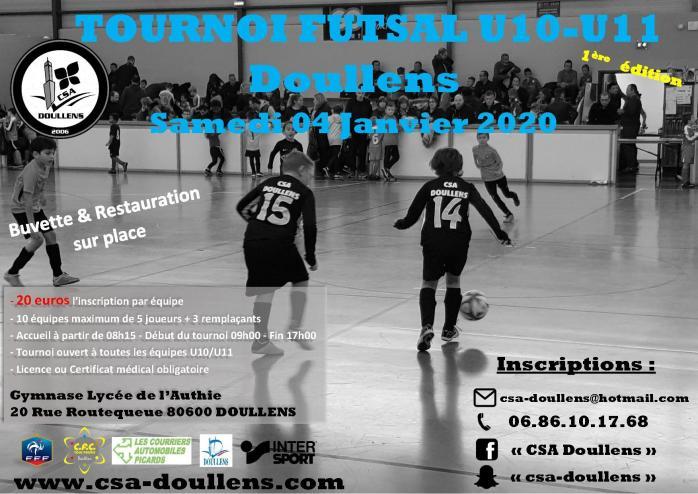Affiche tournoi futsal u10 u11 doullens 04 01 20