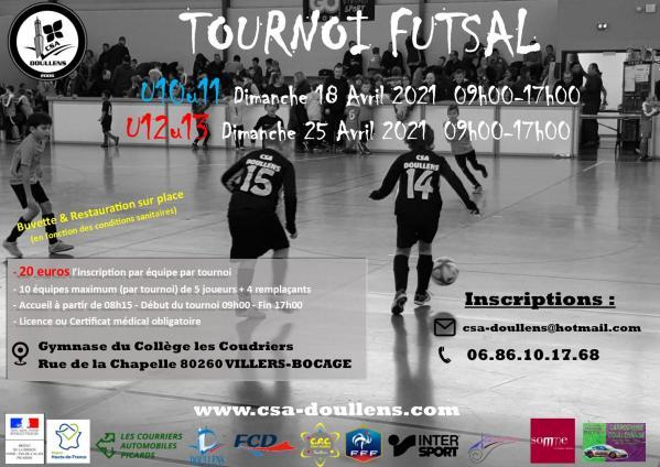 Affiche tournoi futsal u10 u11 et u12 u13 villers bocage