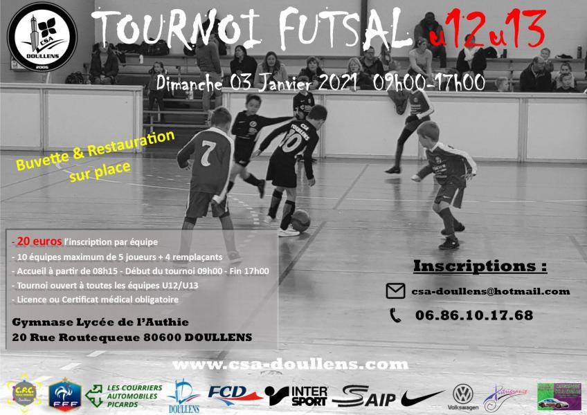 Affiche tournoi futsal u12 u13 doullens 03 01 21
