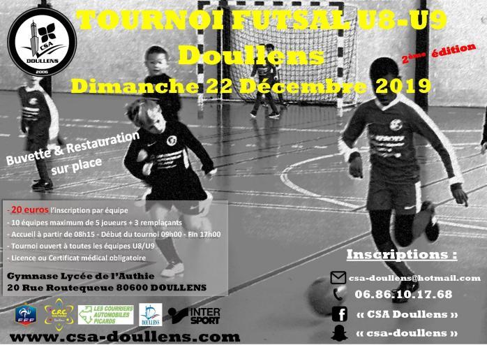 Affiche tournoi futsal u8 u9 doullens 22 12 19